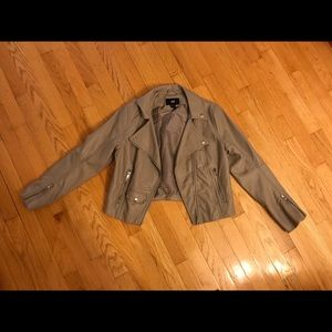 H&M Gray Faux Leather Cropped Jacket Size 8